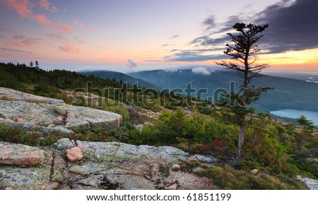 Sunset over Acadia national park, from top of Cadillac mountain - stock photo