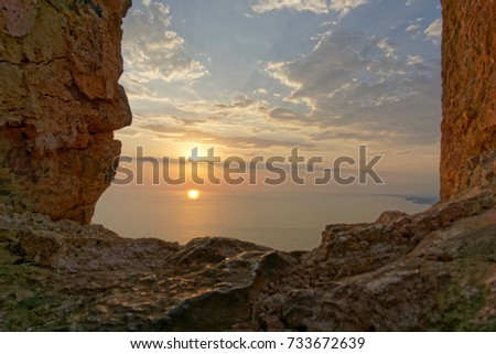 Sunset over alanya castle