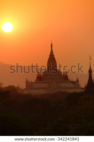 Sunset over Ananda Phaya Temple in Bagan, Myanmar (Burma)