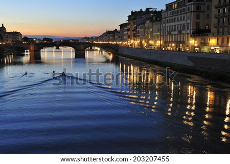 sunset over Arno River in Florence, Italy - stock photo
