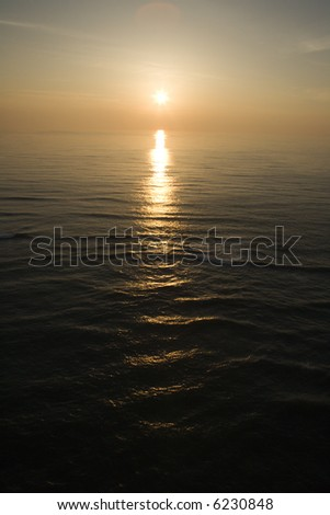 Sunset over Atlantic Ocean. - stock photo