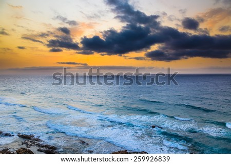 Sunset over Atlantic ocean, fuerteventura
