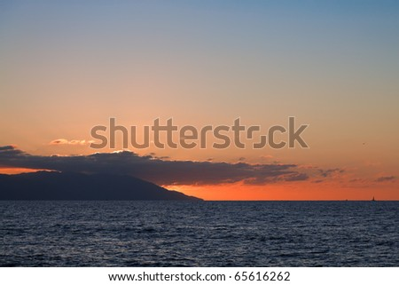 Sunset over Banderas Bay, Puerto Vallarta, Mexico - stock photo