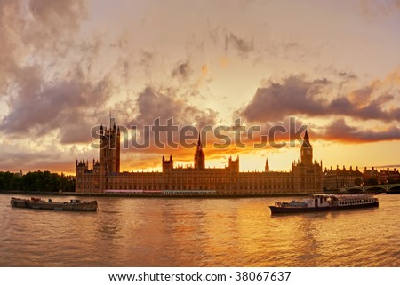 Sunset over Big Ben in London - stock photo