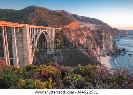 Sunset over Bixby Bridge, Big Sur, California - stock photo