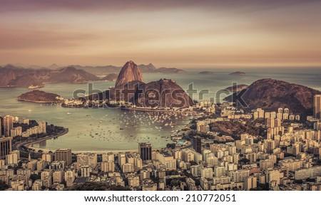 Sunset over Botafogo Bay in Rio de Janeiro ,Brazil - stock photo