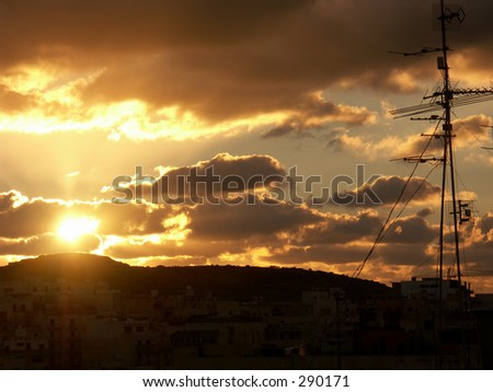 sunset over Bugibba,Malta - stock photo