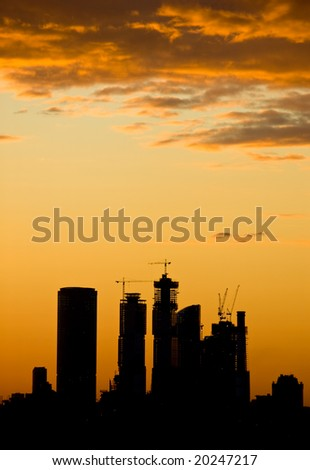 Sunset over buildings