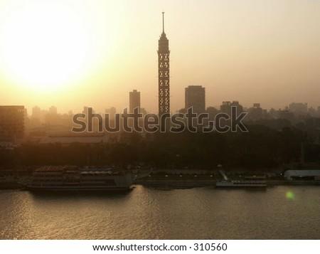 Sunset over Cairo tower - stock photo