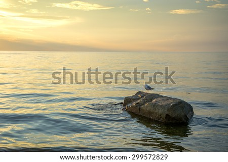Sunset over Cape Cod Bay - stock photo