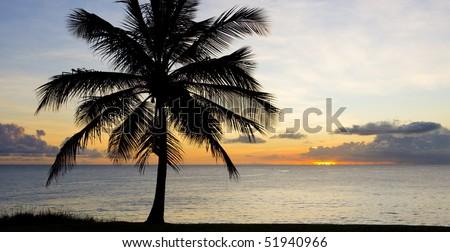 sunset over Caribbean Sea, Barbados - stock photo
