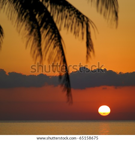 sunset over Caribbean Sea, Maria la Gorda, Pinar del Rio Province, Cuba - stock photo