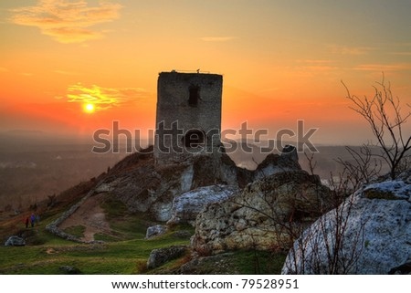 Sunset over castle