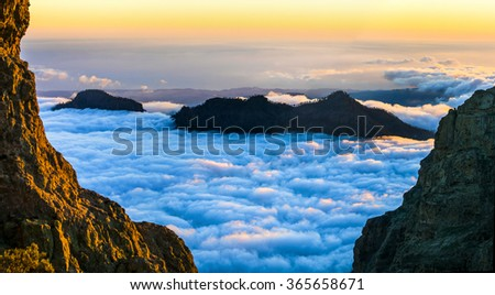 sunset over clouds - Gran Canaria - stock photo