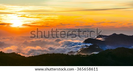 sunset over clouds - Gran Canaria - Roque del nublo national park - stock photo