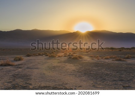 Sunset over Death Valley National Park - stock photo