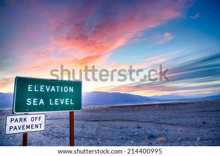 Sunset over Death Valley . Taken from the Furnace Creek Inn. Death Valley National Park, California - stock photo