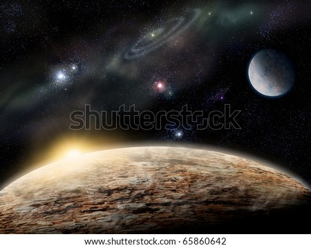 Sunset over deep space alien world - stock photo