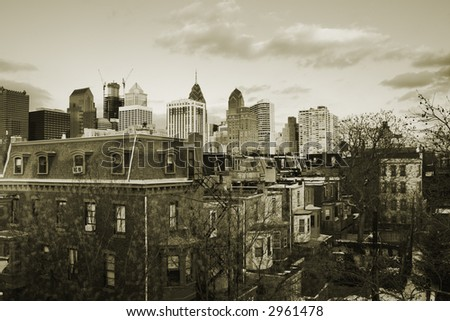 Sunset over downtown Center City, Philadelphia, PA in vintage sepia. - stock photo