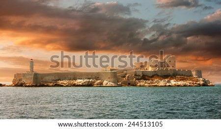 Sunset over famous If castle, chateau d'If, Marseille, France - stock photo