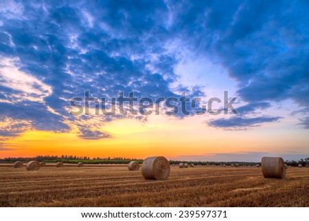 Sunset over farm field with hay bales - stock photo
