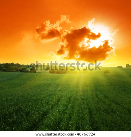 Sunset over field.