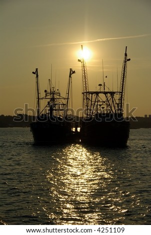 Sunset Over Fishing Boats