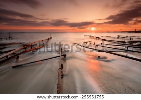 Sunset over Fishing Village near Ravda - stock photo