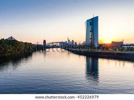 Sunset over Frankfurt am Main with European central bank