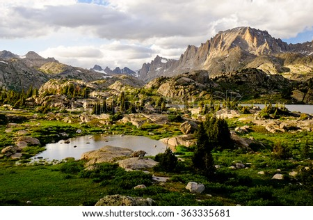 Sunset Over Fremont Peak and Island Lake,  The Wind River Range, Rocky Mountains, Wyoming - stock photo