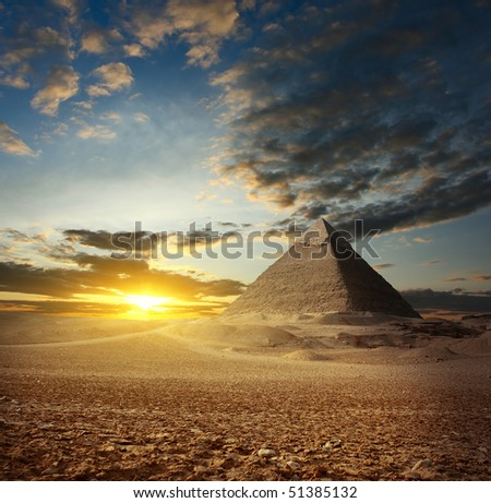 Sunset over Giza valley. Heffron's pyramid - stock photo