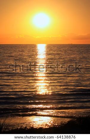 Sunset over Grange Beach, Adelaide, Australia - stock photo