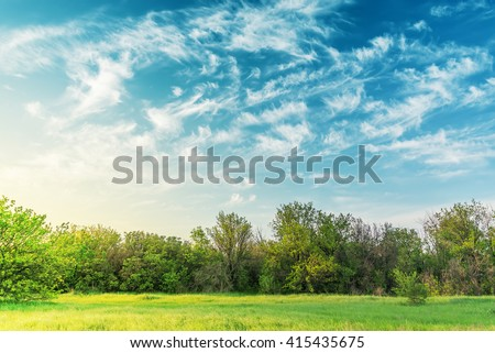 sunset over green meadow and trees in cloudy sky - stock photo