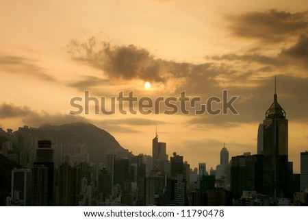 Sunset over Happy Valley, Hong Kong - stock photo