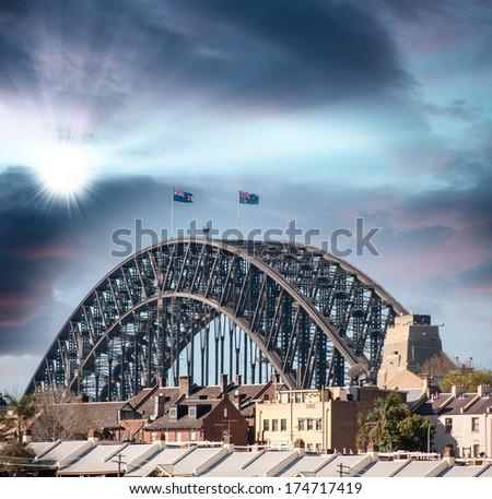 Sunset over Harbour Bridge, Sydney. - stock photo