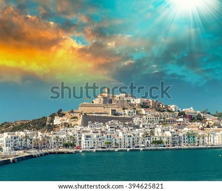 Sunset over Ibiza Port, Spain. - stock photo