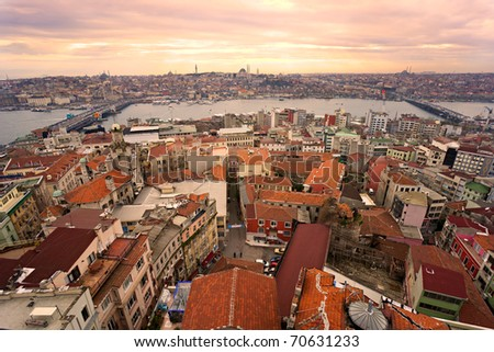 Sunset over Istanbul from Galata tower, Turkey. - stock photo