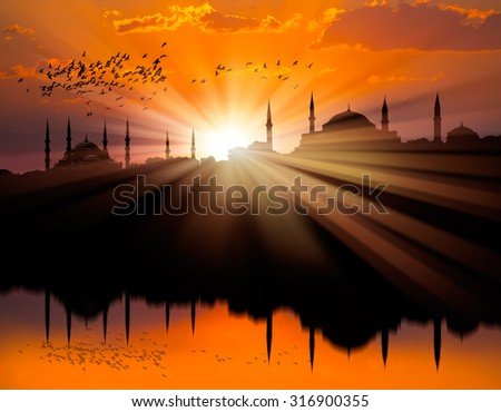 Sunset over Istanbul Silhouette  - stock photo