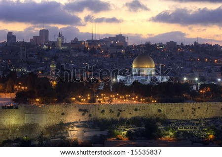 sunset over Jerusalem in warm summer evening - stock photo