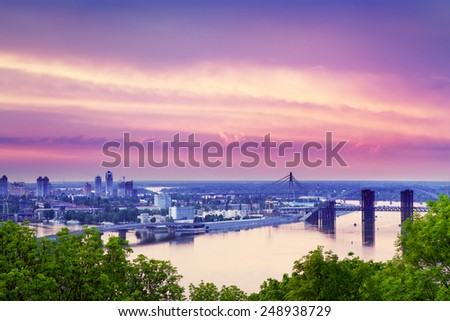 sunset over Kiev and Dnieper at summer, ukraine - stock photo