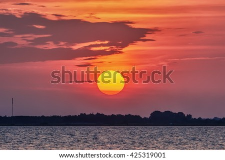 Sunset over lake.