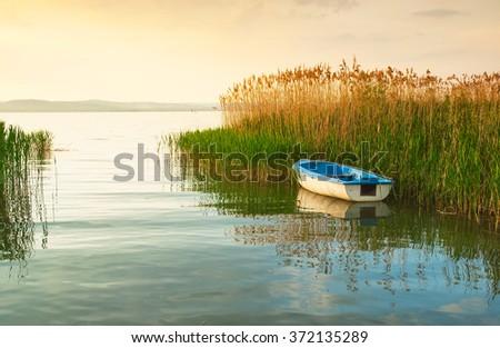 Sunset over lake Balaton - stock photo