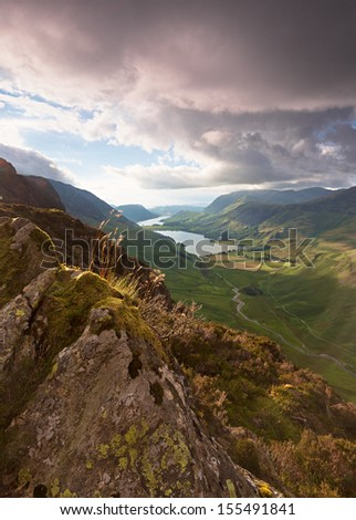 Sunset over Lake Buttermere in the English Lake District. - stock photo