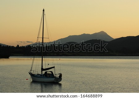 sunset over lake Te Anau, New Zealand - stock photo