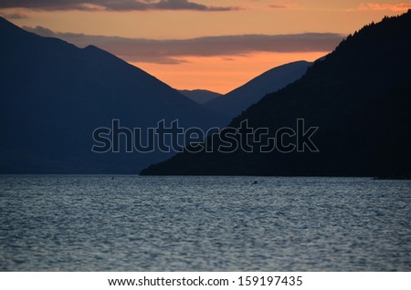 Sunset Over Lake Wakatipu, Queenstown  - stock photo