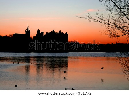 Sunset over Linlithgow Palace Scotland - stock photo