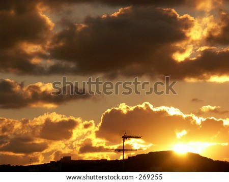 sunset over malta - stock photo