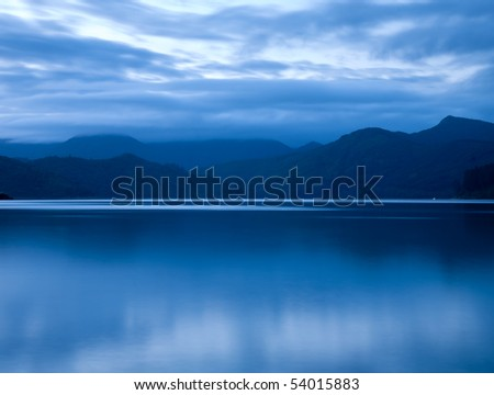 Sunset over Marlborough Sounds, New Zealand - stock photo