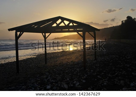 Sunset over Mediterranean sea,Cyprus - stock photo