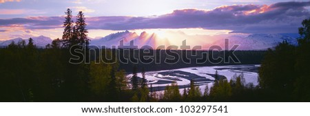Sunset over Mount McKinley, Alaska - stock photo